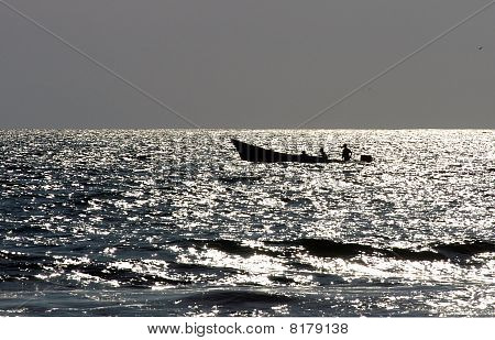 Boat On Sea During Sunset, Puerto Escondido