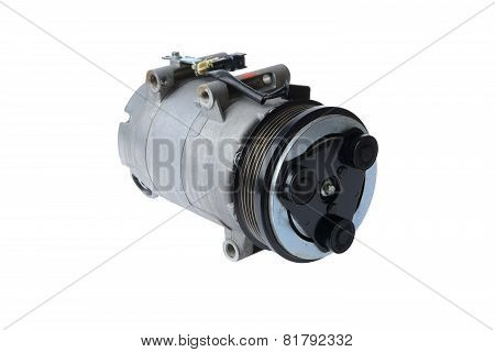 Car Air Conditioning Compressor On A White Background