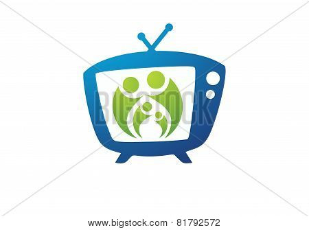 illustration shows a happy family logo,care family design vector