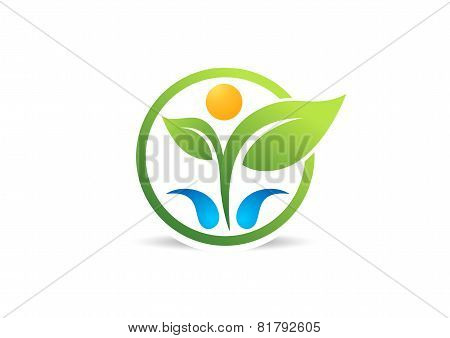 circle, plant, people, health, logo,water, spring, wellness, human, nature, design vector