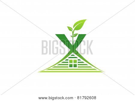 green house logo,building shelter plant home nature symbol icon design vector