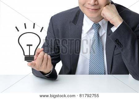 Businessman Finger With A Drawing Light Bulb Isolated On White,idea Concept