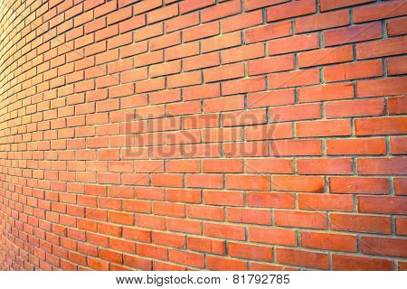 Curve Brown Brick Wall Perspective For  Background