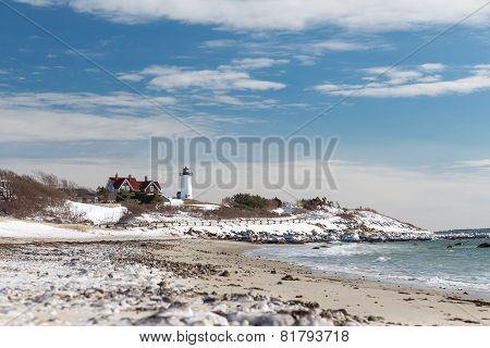 Nobska Point Lighthouse In Snow