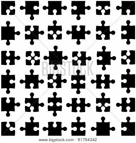Set of black jigsaw puzzles. Vector illustration.
