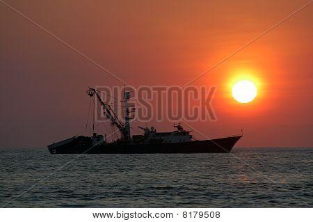 Sunset Over Sea In Puerto Escondido