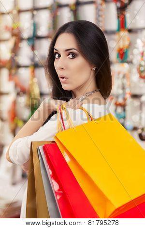 Surprised Beautiful Woman Shopping
