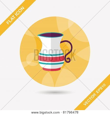 Tea Pot Flat Icon With Long Shadow,eps10