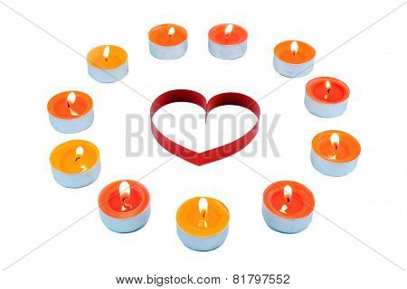 Single Heart  , Surrounded Small Candles.