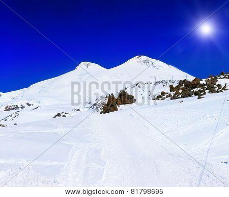 Beautiful View Of Mountaint Elbrus, - Highest Peak Of Europe