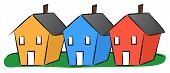 picture of row houses  - Vector illustration of three colorful houses in a row - JPG