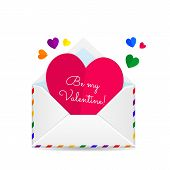 foto of gay symbol  - Vector Valentines Day illustration of Open envelope with paper hearts and place for text isolated on white background - JPG