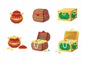 picture of treasure chest  - vector illustration of treasure chest full of gold coins and gems - JPG