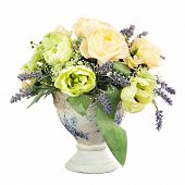 image of centerpiece  - Bouquet from artificial flowers arrangement centerpiece in old vase isolated on white background - JPG