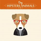 picture of nerds  - Hipster character elements for nerd puppy dog with customizable face look and clothing vector illustration flat style - JPG