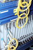 foto of telecommunications equipment  - Telecommunication equipment optical multiplexor in a datacenter of mobile operator - JPG