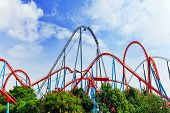 image of breathtaking  - Roller Coaster in funny amusement  park in summer day - JPG