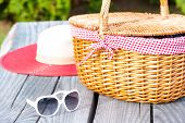 stock photo of wooden basket  - Ready for summer weekend - JPG