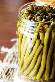 stock photo of green-beans  - Close up of a jar with shuck  - JPG