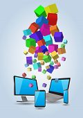 picture of informatics  - illustration of informatic technology with cubes colorful - JPG