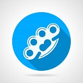 picture of brass knuckles  - Blue round vector icon with white silhouette brass knuckles on gray background - JPG