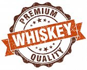 image of whiskey  - whiskey brown vintage seal isolated on white - JPG