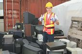foto of bio-hazard  - A worker who recycling thing on recycle center - JPG