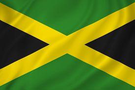stock photo of jamaican flag  - Jamaica national flag background texture full frame - JPG