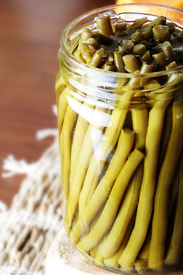 picture of green bean  - Close up of a jar with shuck  - JPG