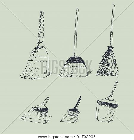 Vector Illustration With Brooms And Dustpans