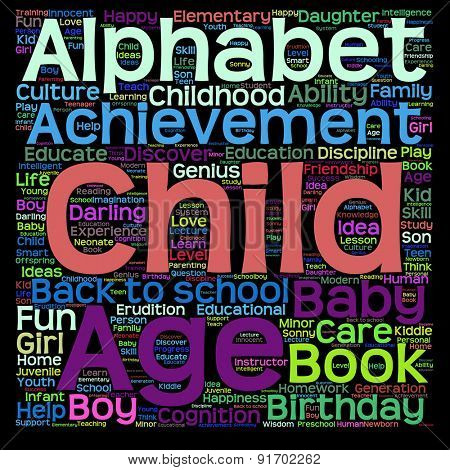 Conceptual child education or family abstract word cloud on black background
