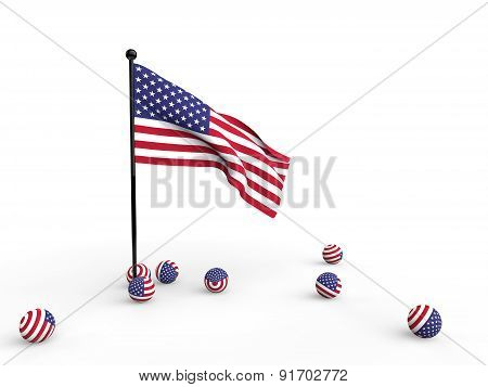 3d american flag and spheres