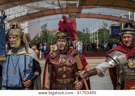 Historical Roman Group At Expo 2015 In Milan, Italy
