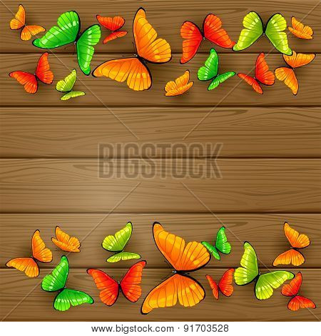 Colorful Butterflies On Wooden Background