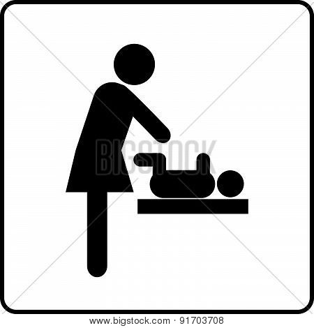 Baby Changing Room Sign Vector
