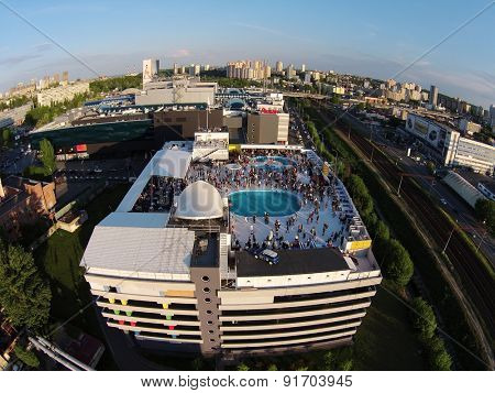 Kiev, Ukraine, May 10, 2015. Pool party on the roof, the grand opening of the Beach Club, aerial view