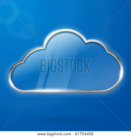 Cloud computing technology concept illustration, steel with transparent glass cloud. With place for