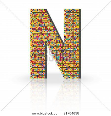 3D Vector Font With Reflection Alphabet Letter N