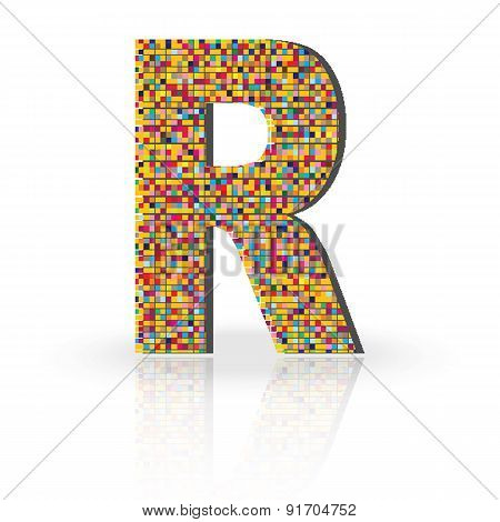 3D Vector Font with Reflection Alphabet Letter R