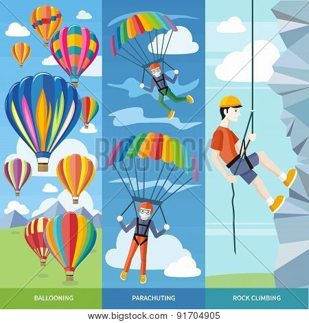 Parachuting, Ballooning and Rock Climbing