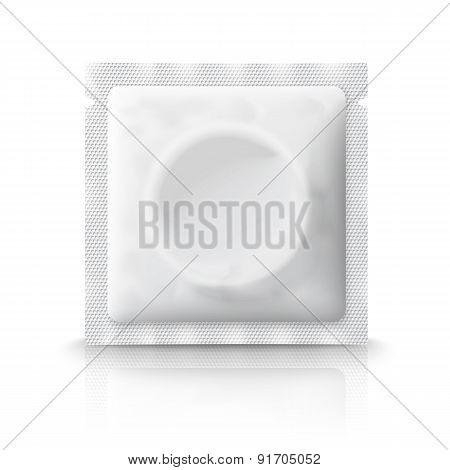 Blank plastic condom pack, isolated on white background with reflection. Vector