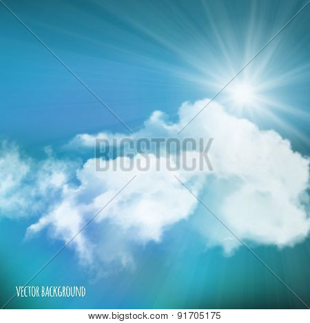 Vector Background, Sun Over Clouds
