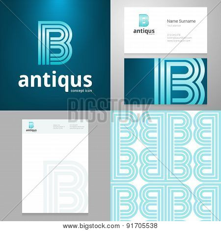 Design Icon B Element With Business Card And Paper Template