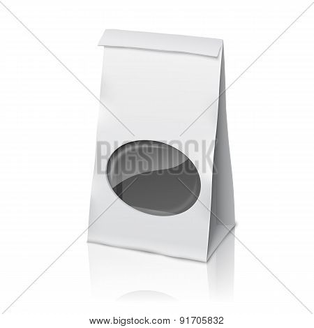 Blank white vector realistic paper packaging bag with transparent window, and place for your design,