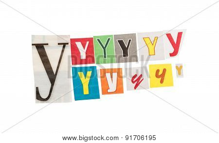 Letters Y from newspapers
