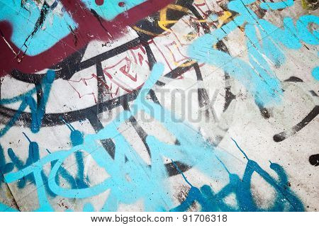 Abstract Colorful Graffiti Fragment Over Old Wall