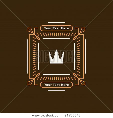 Abstract Decorative In Mono Line Style Frame With Crown And Copy Spaces For A Logo Or Other Design.