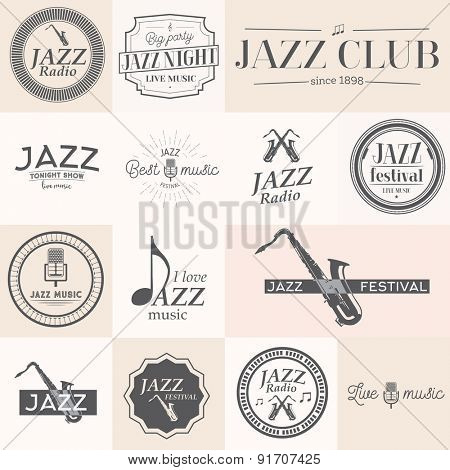 Jazz music stamps and labels. Vector illustration