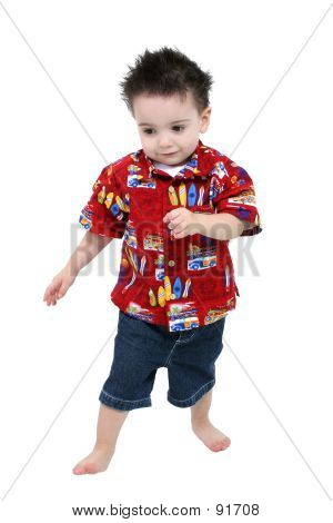 Adorable Toddler Boy In Bright Summer Clothes Barefoot Over Whit