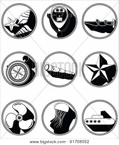 Nautical Elements II Icons In Knottet Circlein Black And White